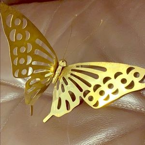 Vintage MCM brass butterfly wall plaque